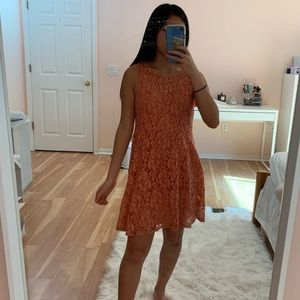 Free people floral pink lace mini dress